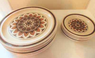 12 Pc Lot Vintage Royal China Omegastone Dinner/Bread & Butter Plates - Aztec