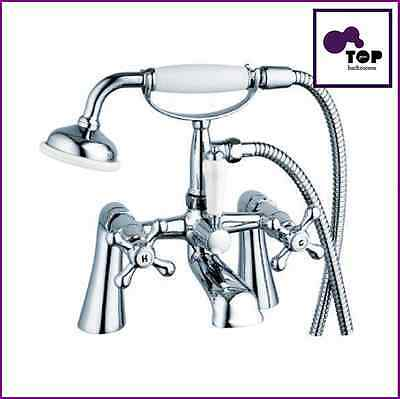 Traditional Victorian Styled Crosshead Bath Shower Mixer Tap and Complete Set