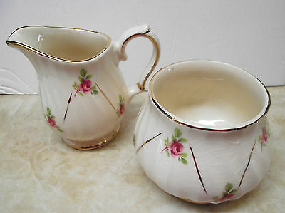 Vtg Sadler Cream And Sugar Set Pink Rosebud England