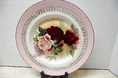 Royal Staffordshire / Wilkinson Plate Pink & Wine Roses Shabby Chic England