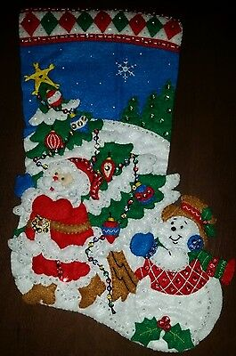 """Finished Bucilla """" Pick a Tree 16"""" Christmas Stocking - Handstitched"""