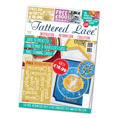 IN STOCK - Tattered Lace Magazine Issue 33 - FREE Zodiac Words Die Set (12 Dies)