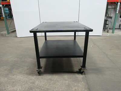"48""x40"" Rolling Steel Assembly Set Up Work Table 1/4"" Top 2""x2"" Legs W/ Shelf"