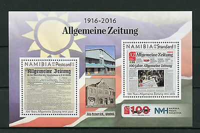 Namibia 2016 MNH Allgemeine Zeitung 100 Years 2v M/S Newspapers Stamps
