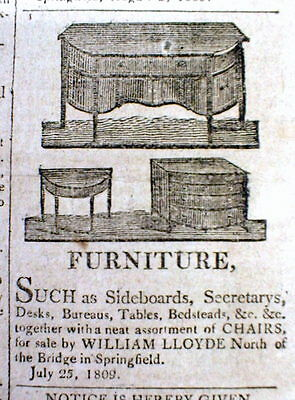 1809 newspaper w detailed ILLUSTRATED AD for FEDERALIST STYLE AMERICAN FURNITURE