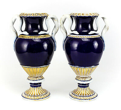 Pair Meissen Cobalt Blue & Gilt Porcelain Urns Snake Handles Blue Crossed Swords