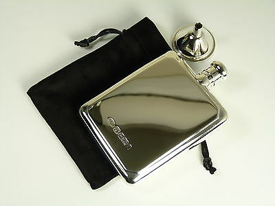 NEW - Solid Silver - HIP FLASK & FUNNEL - Large Size - Boxed