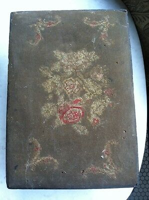 Antique Victorian Cross Stitch Handmade Stool Bench Vtg Ottoman