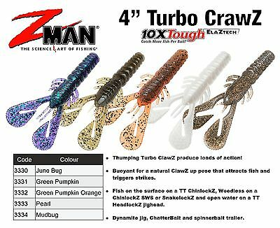 "Zman 4"" Turbo CrawZ  (z-man soft plastic lures z man) Soft Plastics Fishing Lure"