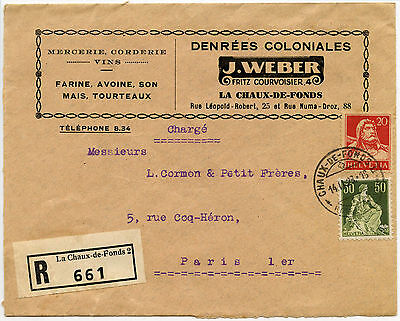 Swiss 1923 Merchant Regist.advert Cover, Chaux De Fonds
