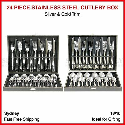24 Piece Cutlery Box Stainless Steel Set Boxes Silver Gold Bulk Knife Fork Spoon
