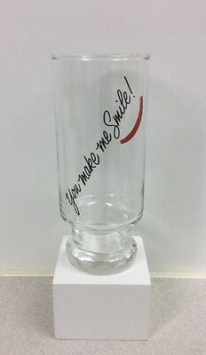 1980s Vintage You Make Me Smile W/ a Red Smile Avon Footed Glass Tumbler Fast