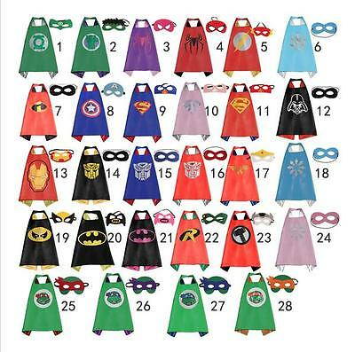 Superman Batman Spiderman Superhero Kids Cape & Mask Boy Girl Party Costume Set