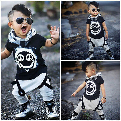 Toddler Kids Baby Boys Tops T-shirt Pants Harem 2PCS Outfits Set Clothes 1-6Y