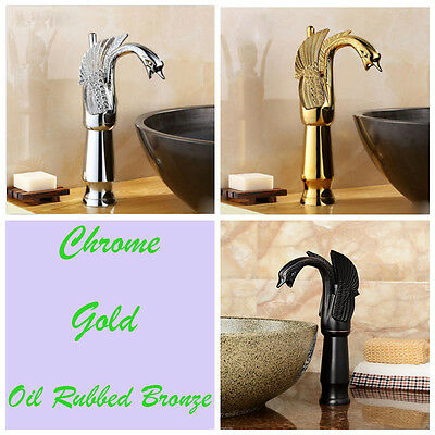 Antique Brass Swan Shape Bathroom Sink Faucet Single Lever Basin Sink Mixer Tap