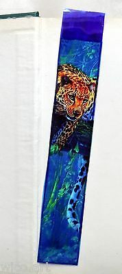 Wicoart Marque Page Effet Faux Stained Glass Peint Main Big Cat Leopard Foret