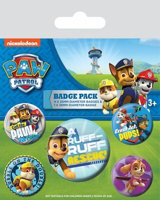 Paw Patrol Set Of 5 Pin Badges TV Show Nickelodeon Kids Childs Puppys Official