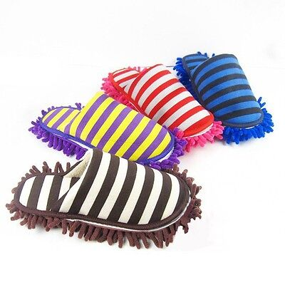 Thickened Cleaning Slippers Stripe Scuffs & Mules Microfiber Mop Dusting Shoes