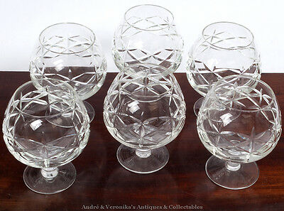 "Set of 6 BRANDY / COGNAC 5"" x 4"" GLASSES Crystal Balloon Vintage Probably Irish"