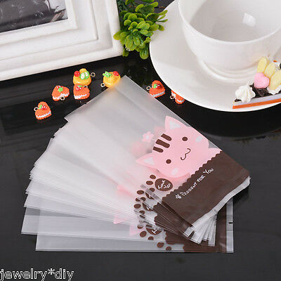 JD 50PCs Pink Cat Frosted Plastic Bags Cookie Candy Cellophane Bags Party Gift