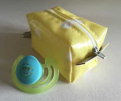 Dummy/Soother Case-Holder Handmade in Yellow And White Spotty oilcloth