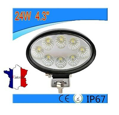 Feu Puissant 24W Led Lampe Ovale Lumiere Vehicules Utilitaires Universel 12V 24V