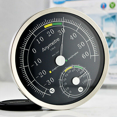 "5"" Blue Dial Thermometer Hygrometer Household Weather Meter Stainless Steel Case"