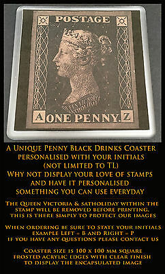 Lot: C-1029  GB Queen Victoria  1840 1d Penny Black  Personalised Coaster