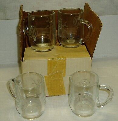 Volkswagen Fahrvergnugen Set of four Mugs Glass with VW and Driver Logos in box