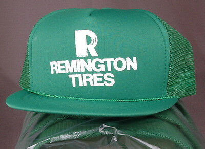 Lot of 7 Vtg Remington Tire Trucker Hat-Green-Mesh-Patch-Snapback-Auto-New-Hip..