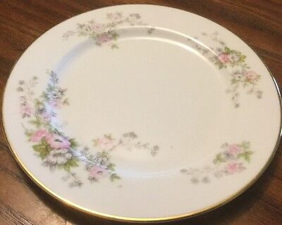 """Rose China Occupied Japan, Pretty Flowered 8"""" Gold-trimmed Salad/Dessert Plate"""
