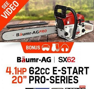 "62cc 20"" Bar Chainsaw with e-Start Safety Kit Petrol EURO 2-2 Stroke Commercial"