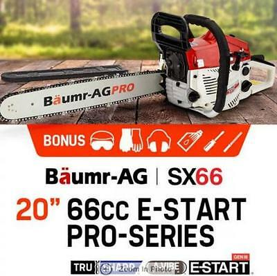"2,800W Power 20"" 66cc Chainsaw with E-Start Petrol EURO 2-2 Stroke Commercial"