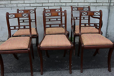 Great Set of Regency Style Mahogany Dining Room Chairs, One Arm & 5 Side Chairs