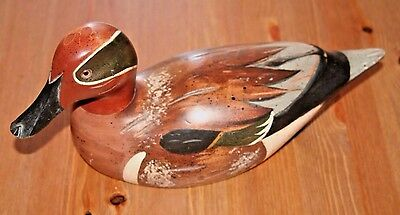 Hand Carved Signed M Lewandowski Cabela's Wooden Duck Decoy Green Winged Teal 85