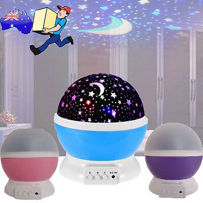 Star Moon Sky Starry Night Projector LED Light Lamp For Kids Baby Bedroom Gift