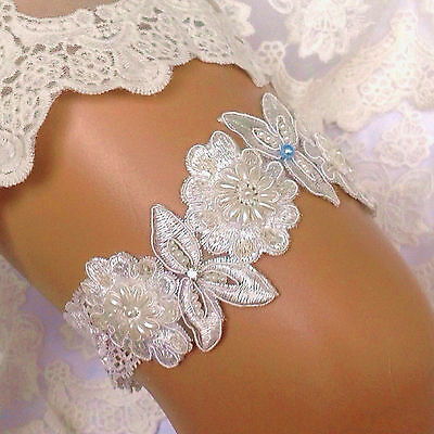 Bridal Lace Wedding Garter Embroidered Crystal Blue Pearl Flower Beaded Bride