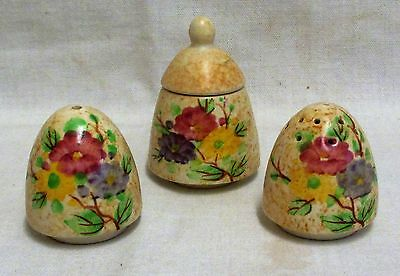 1930's E Radford Hand Painted Floral Yellow Cruet Set