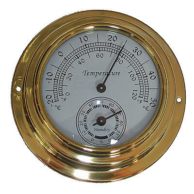 10cm Dial Brass Case Thermometer Hygrometer -0°c~50°c Wall Mounted