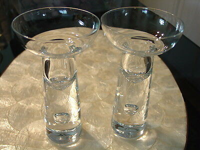 "Crystal Air Bubble Candlesticks Clear Base Pair 6 1/8"" high Scandinavia"