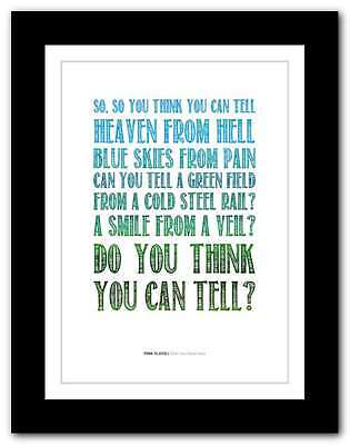PINK FLOYD Wish You Were Here ❤  song lyrics typography poster art print #54