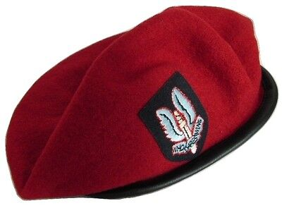 Wool Military Army Style Beret Cap Hat SAS Embroidered Badge Size L New