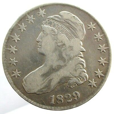1829 USA Capped Bust Silver  Half Dollar Overton 114  - R3 Coin.