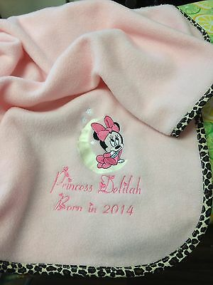 Personalised fleece baby blanket with Minnie Mouse optional contrast edging