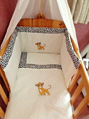 Beautiful bespoke crib cot cotbed bumper set with Lion, cream and leopard print