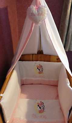 Beautiful bespoke crib cot cotbed bumper set with minnie mouse choose col/design