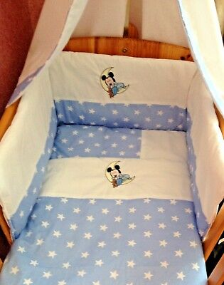 Beautiful bespoke crib cot cotbed bumper set with mickey mouse choose col/design