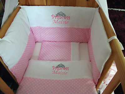 Beautiful personalised bespoke princess crib cot cotbed bumper set