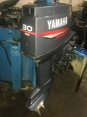 02 YAMAHA 30HP POWER TRIM ~ Oil Injected 2-Stroke Outboard Boat Engine &  Remotes