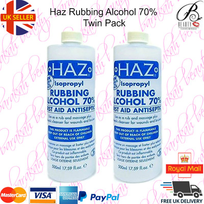 2 x Haz Rubbing Alcohol 70% FIRST AID ANTISEPTIC 500ml (Pack of 2)